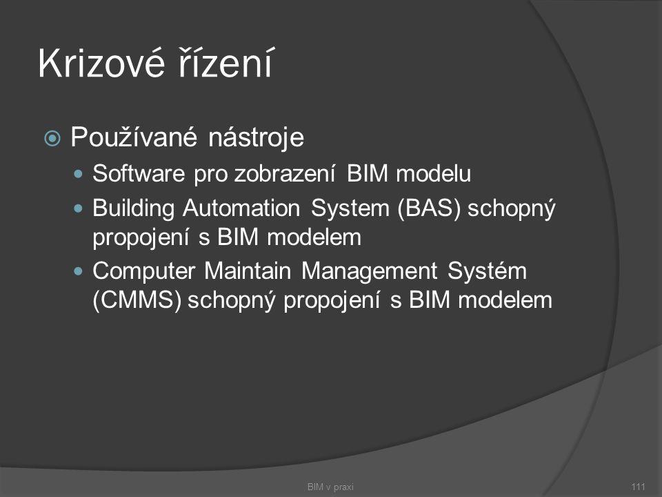 Krizové řízení Používané nástroje Software pro zobrazení BIM modelu
