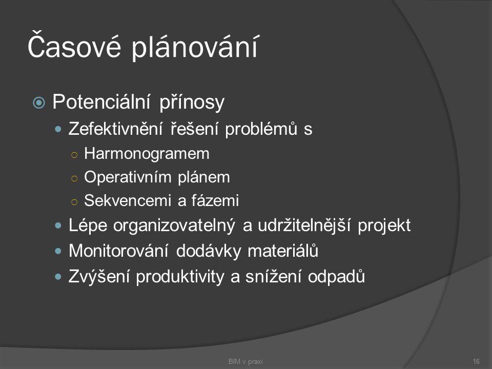 Časové plánování Potenciální přínosy Zefektivnění řešení problémů s