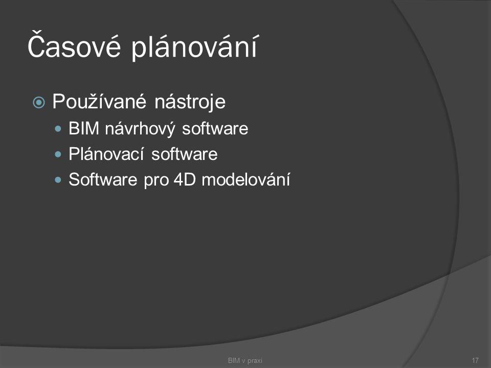 Časové plánování Používané nástroje BIM návrhový software
