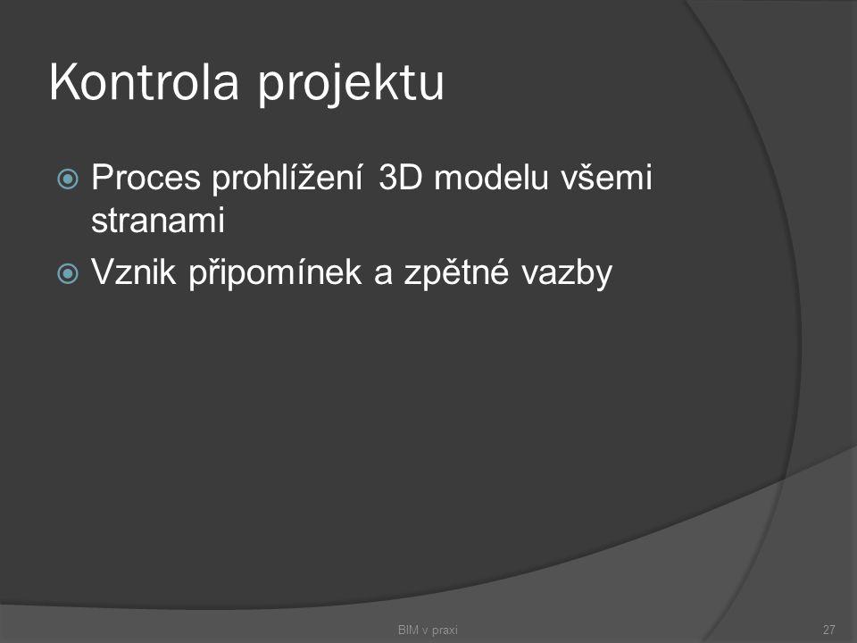 Kontrola projektu Proces prohlížení 3D modelu všemi stranami