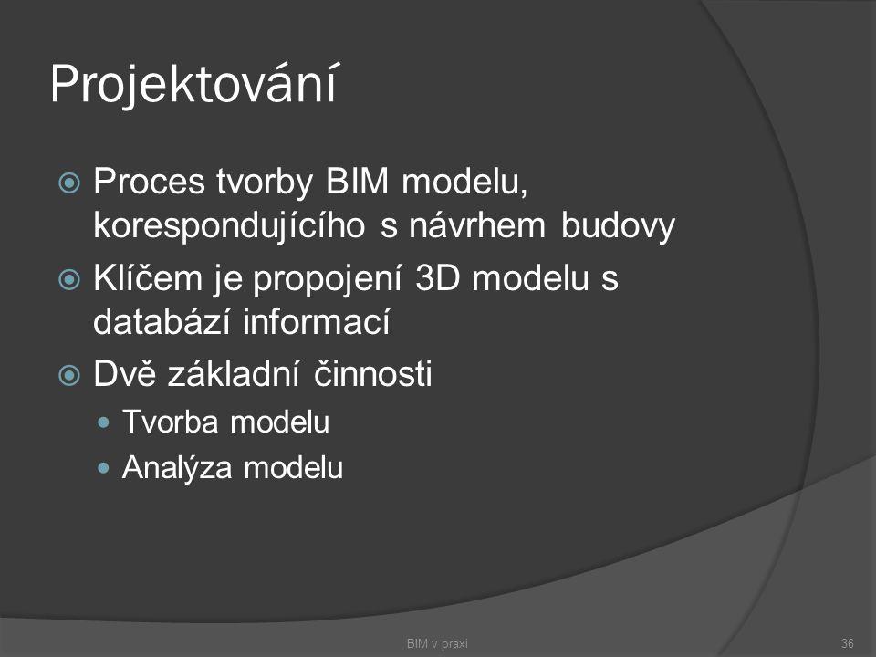 Projektování Proces tvorby BIM modelu, korespondujícího s návrhem budovy. Klíčem je propojení 3D modelu s databází informací.