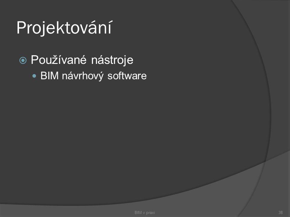 Projektování Používané nástroje BIM návrhový software BIM v praxi