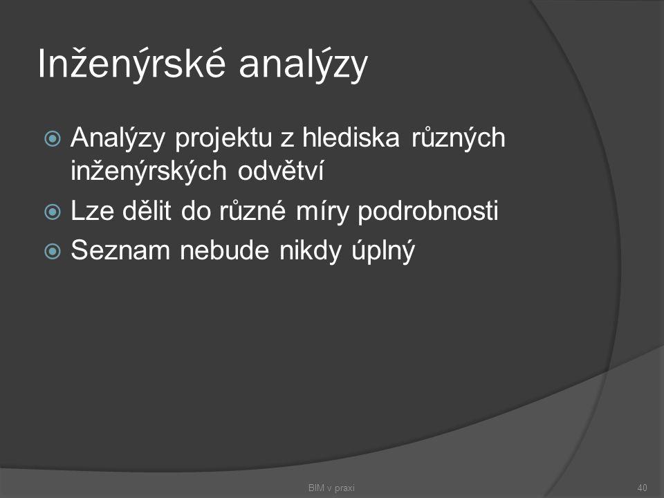 Inženýrské analýzy Analýzy projektu z hlediska různých inženýrských odvětví. Lze dělit do různé míry podrobnosti.