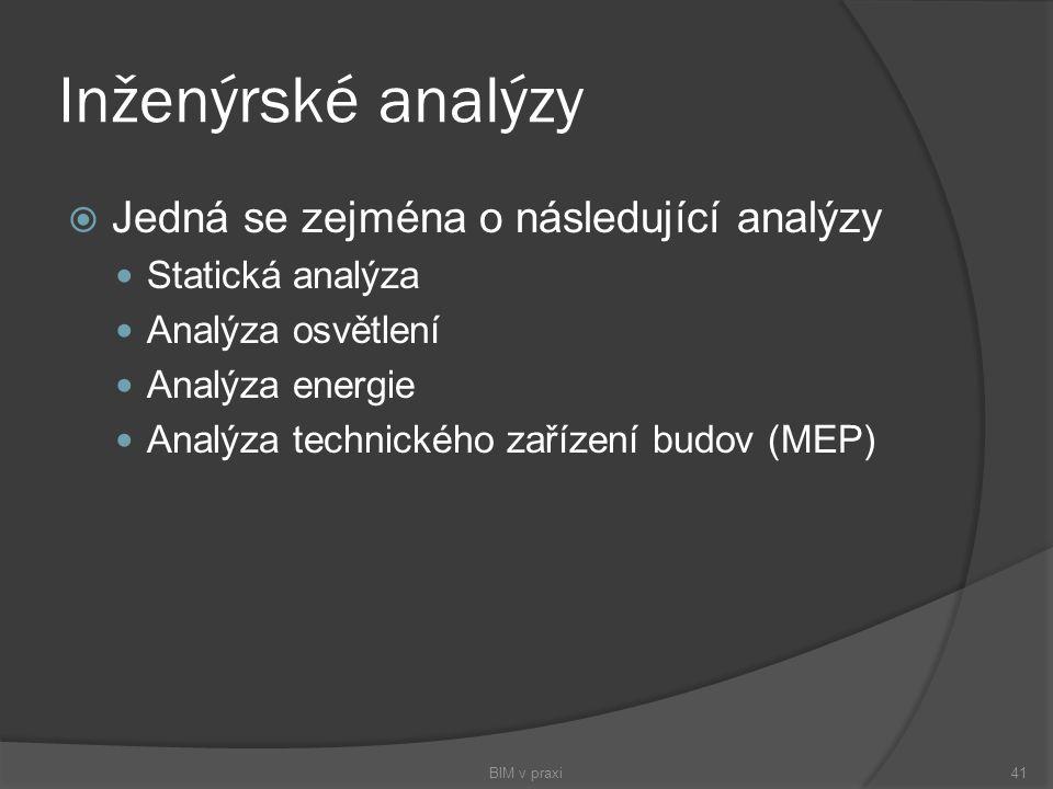 Inženýrské analýzy Jedná se zejména o následující analýzy