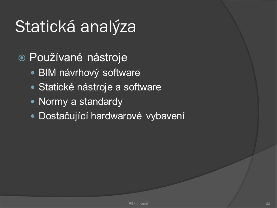 Statická analýza Používané nástroje BIM návrhový software