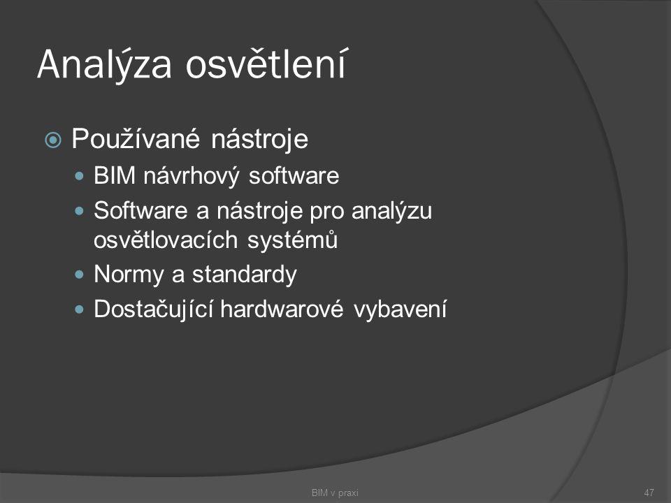 Analýza osvětlení Používané nástroje BIM návrhový software