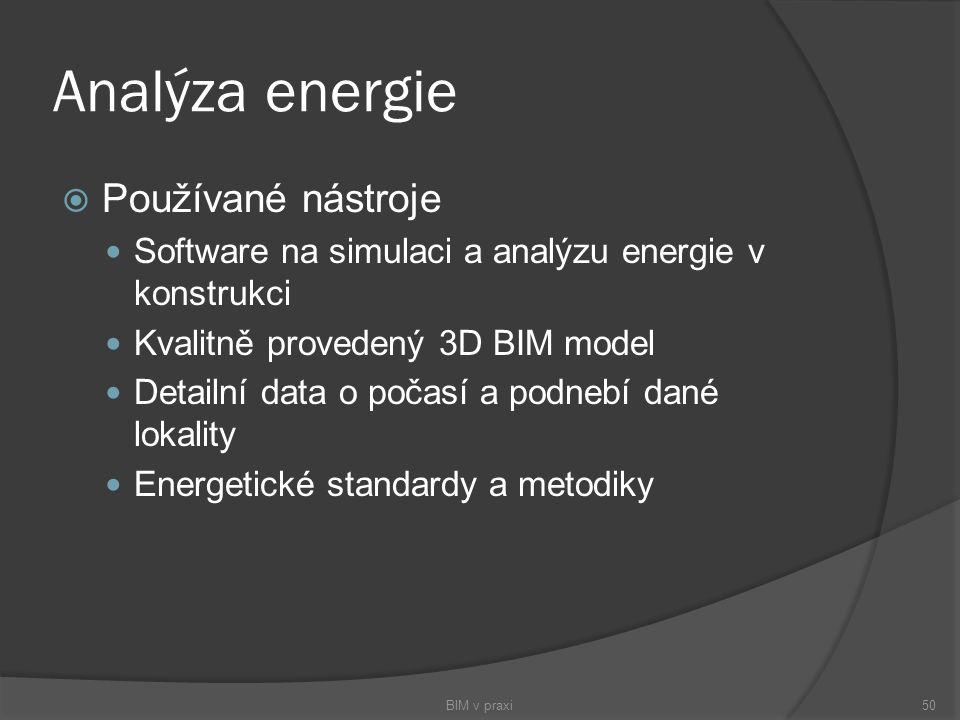 Analýza energie Používané nástroje