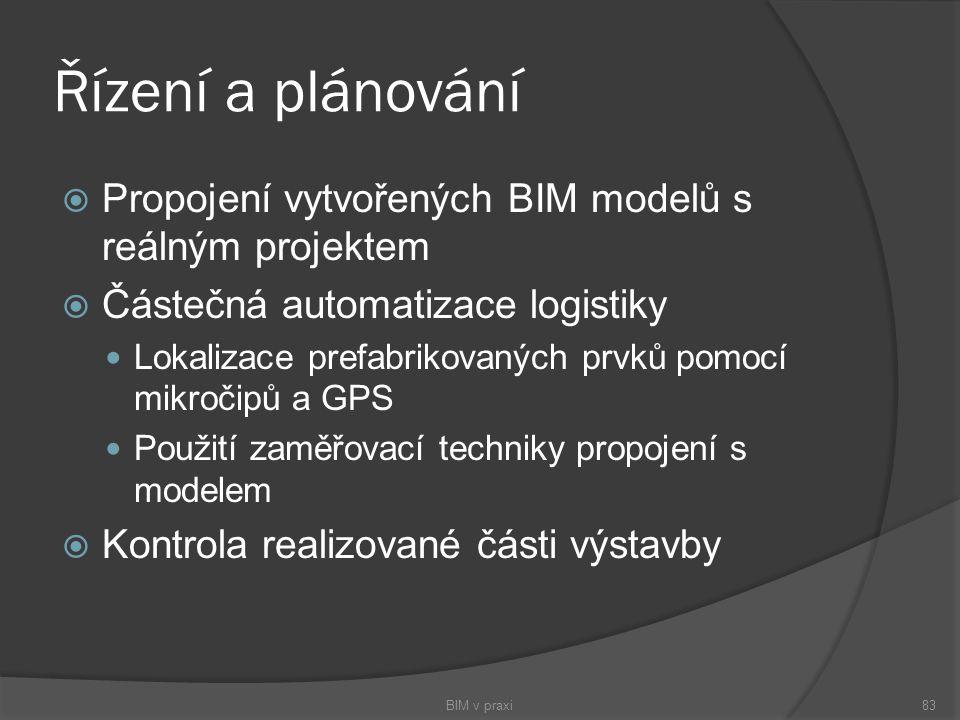Řízení a plánování Propojení vytvořených BIM modelů s reálným projektem. Částečná automatizace logistiky.