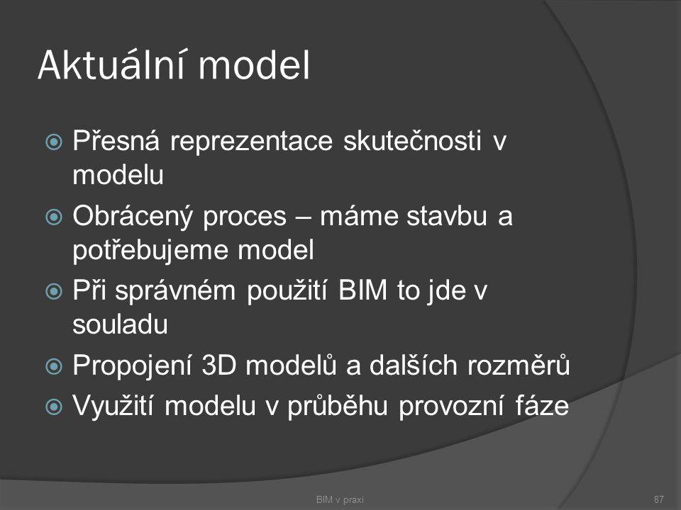 Aktuální model Přesná reprezentace skutečnosti v modelu
