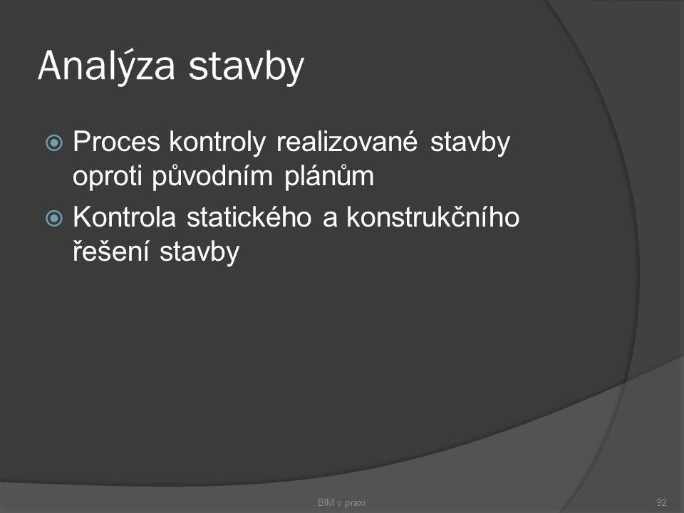Analýza stavby Proces kontroly realizované stavby oproti původním plánům. Kontrola statického a konstrukčního řešení stavby.