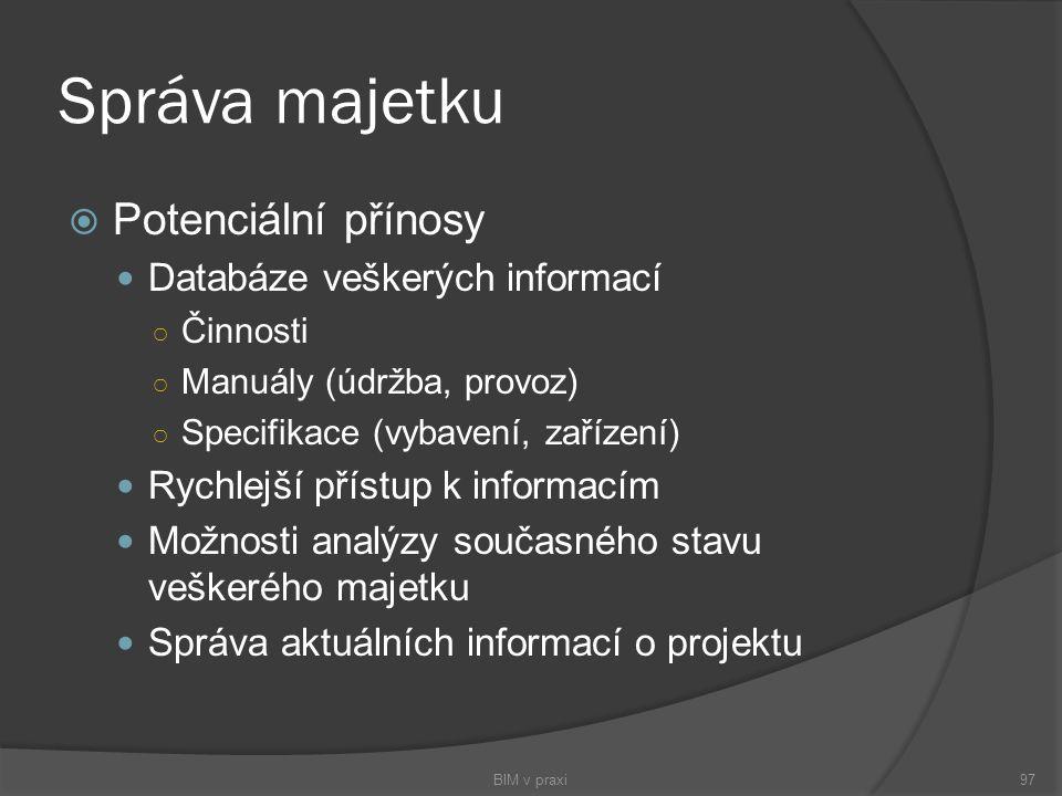Správa majetku Potenciální přínosy Databáze veškerých informací