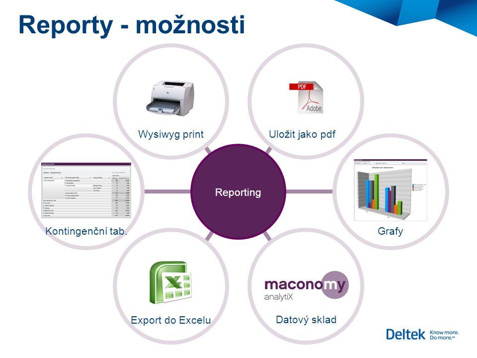 Reporty - možnosti Wysiwyg print Export do Excelu Kontingenční tab.