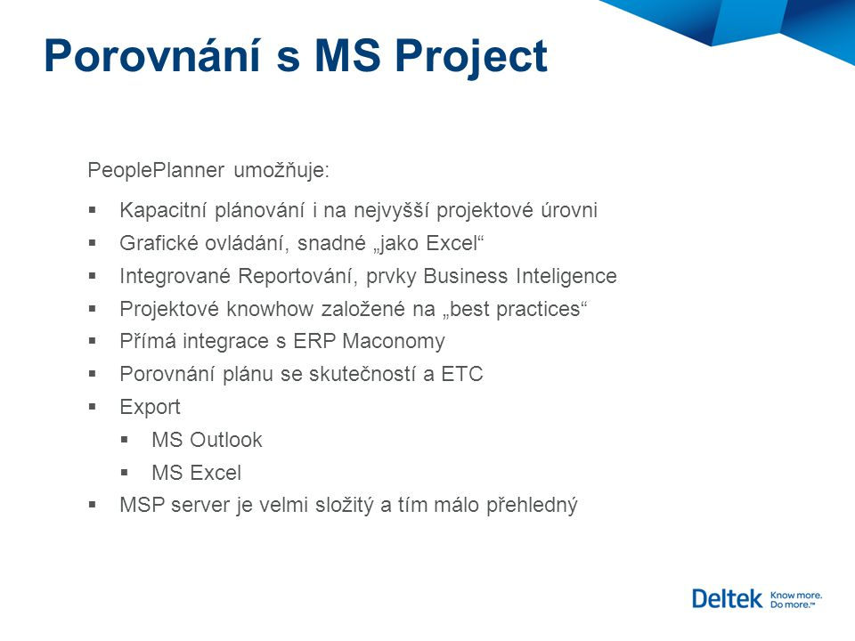 Porovnání s MS Project PeoplePlanner umožňuje: