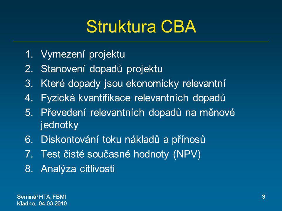Struktura CBA Vymezení projektu Stanovení dopadů projektu
