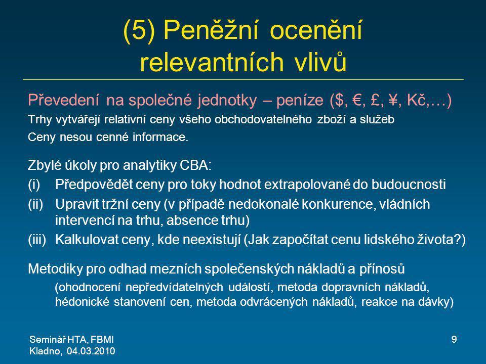 (5) Peněžní ocenění relevantních vlivů
