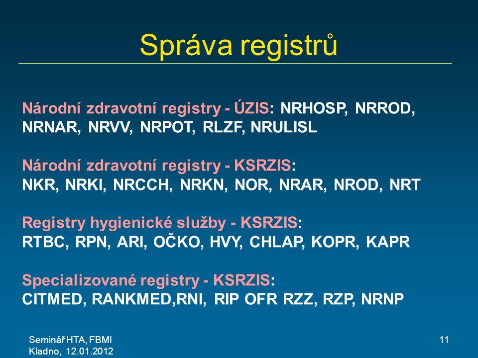 Správa registrů Národní zdravotní registry - ÚZIS: NRHOSP, NRROD, NRNAR, NRVV, NRPOT, RLZF, NRULISL.