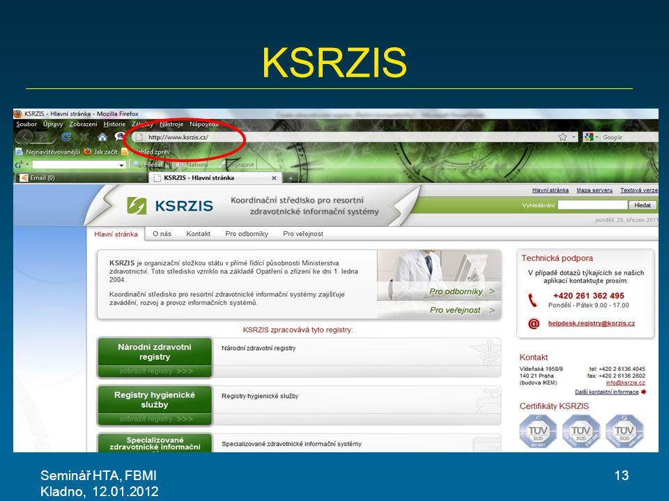 KSRZIS Seminář HTA, FBMI Kladno, 12.01.2012