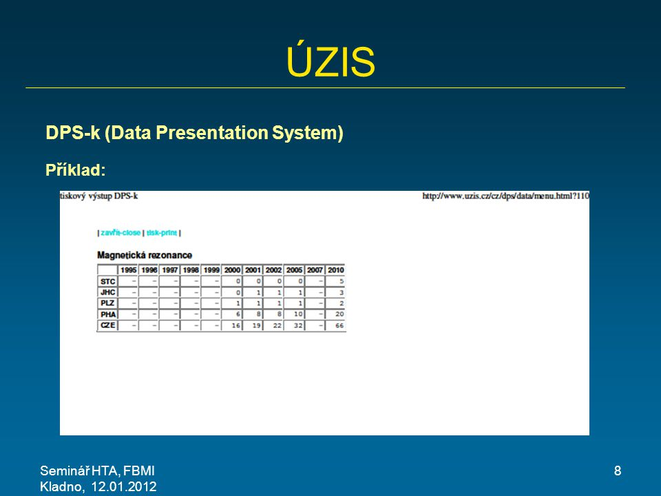 ÚZIS DPS-k (Data Presentation System) Příklad: