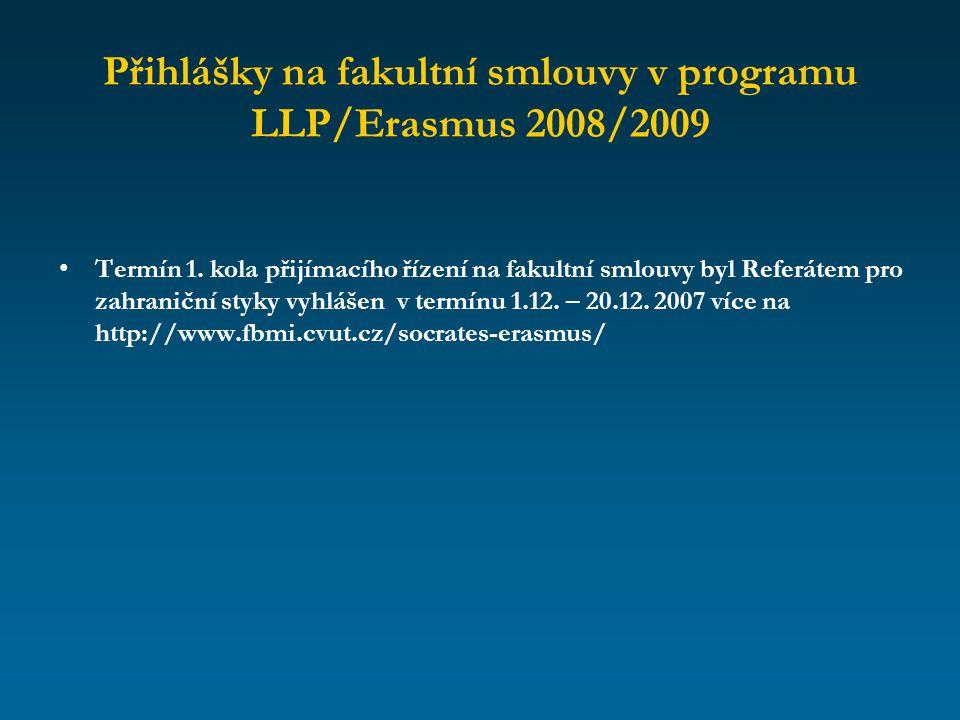 Přihlášky na fakultní smlouvy v programu LLP/Erasmus 2008/2009
