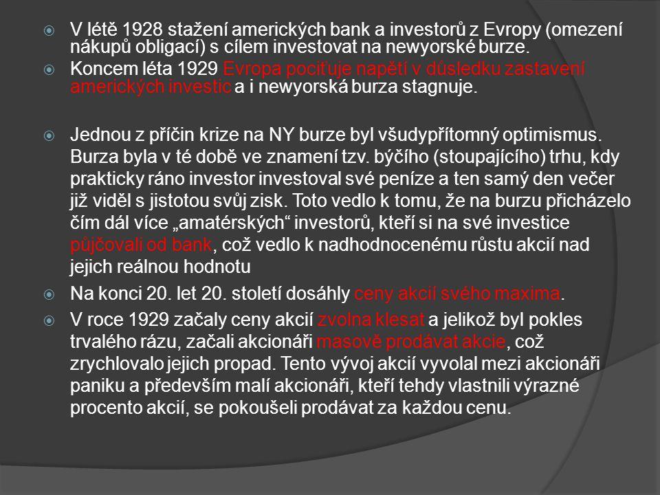 V létě 1928 stažení amerických bank a investorů z Evropy (omezení nákupů obligací) s cílem investovat na newyorské burze.