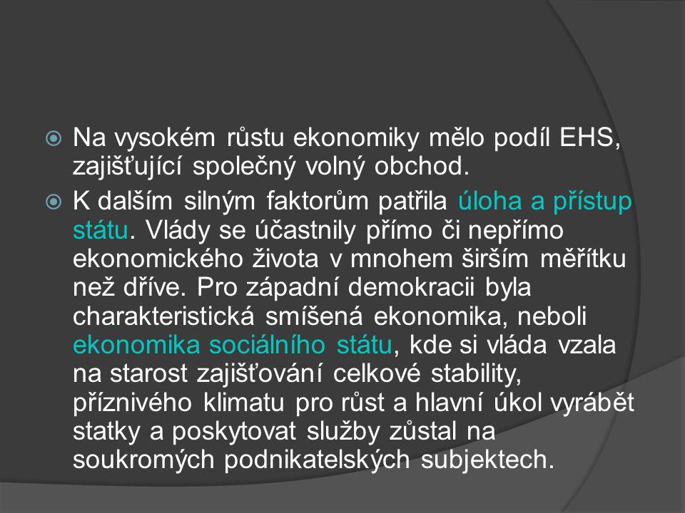 Na vysokém růstu ekonomiky mělo podíl EHS, zajišťující společný volný obchod.
