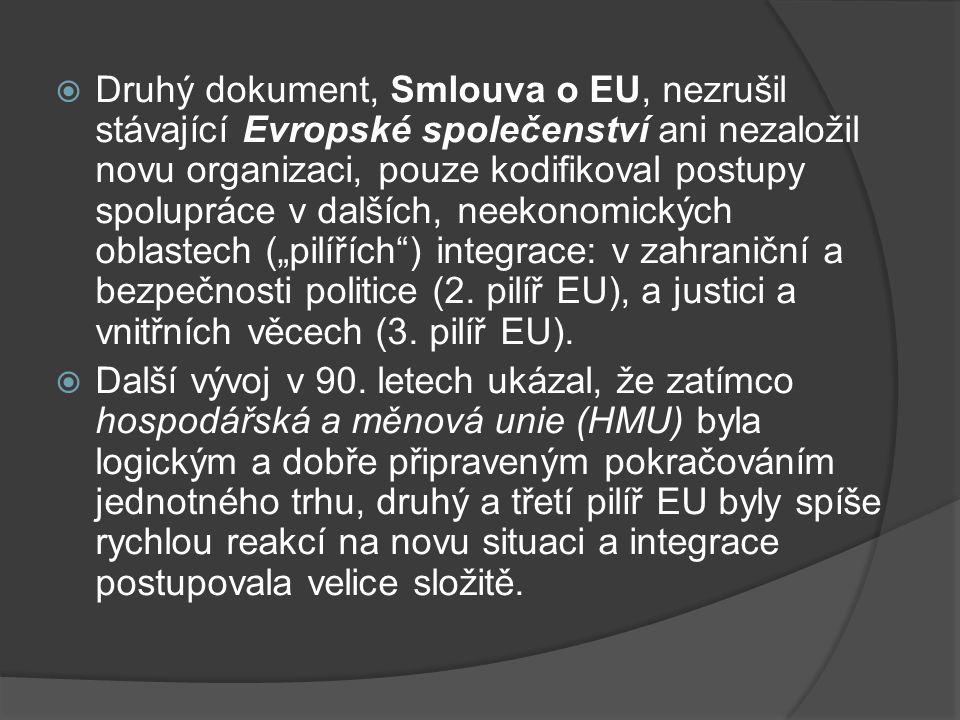 """Druhý dokument, Smlouva o EU, nezrušil stávající Evropské společenství ani nezaložil novu organizaci, pouze kodifikoval postupy spolupráce v dalších, neekonomických oblastech (""""pilířích ) integrace: v zahraniční a bezpečnosti politice (2. pilíř EU), a justici a vnitřních věcech (3. pilíř EU)."""