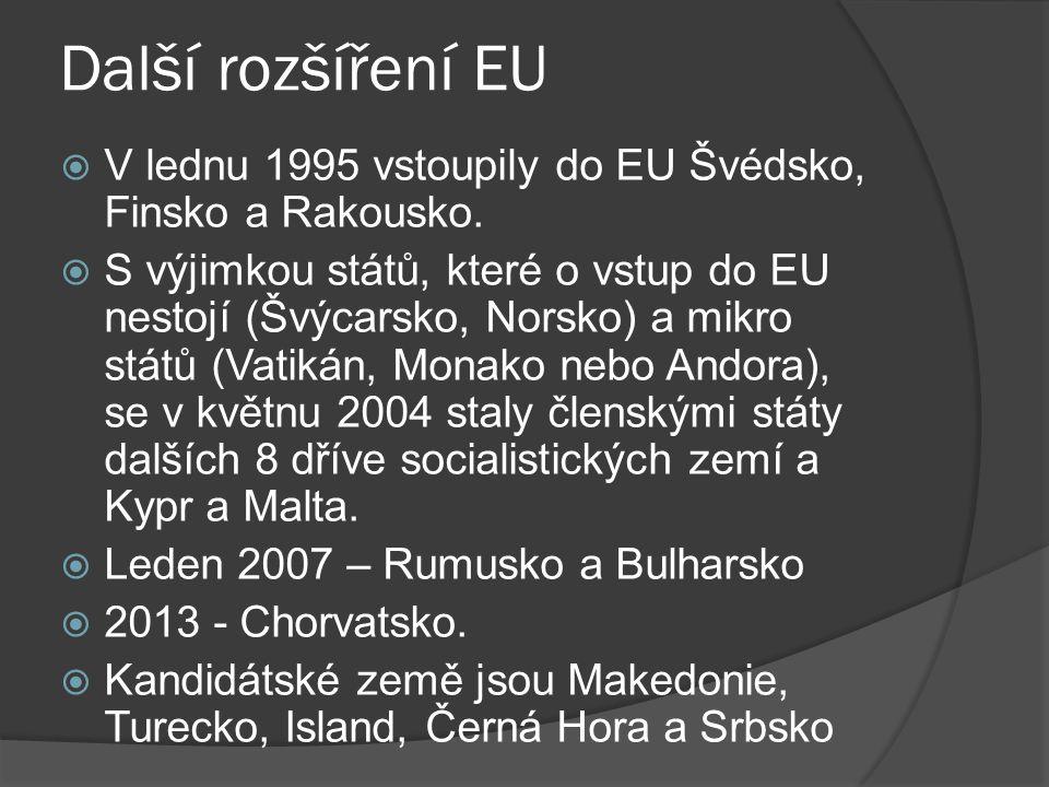 Další rozšíření EU V lednu 1995 vstoupily do EU Švédsko, Finsko a Rakousko.