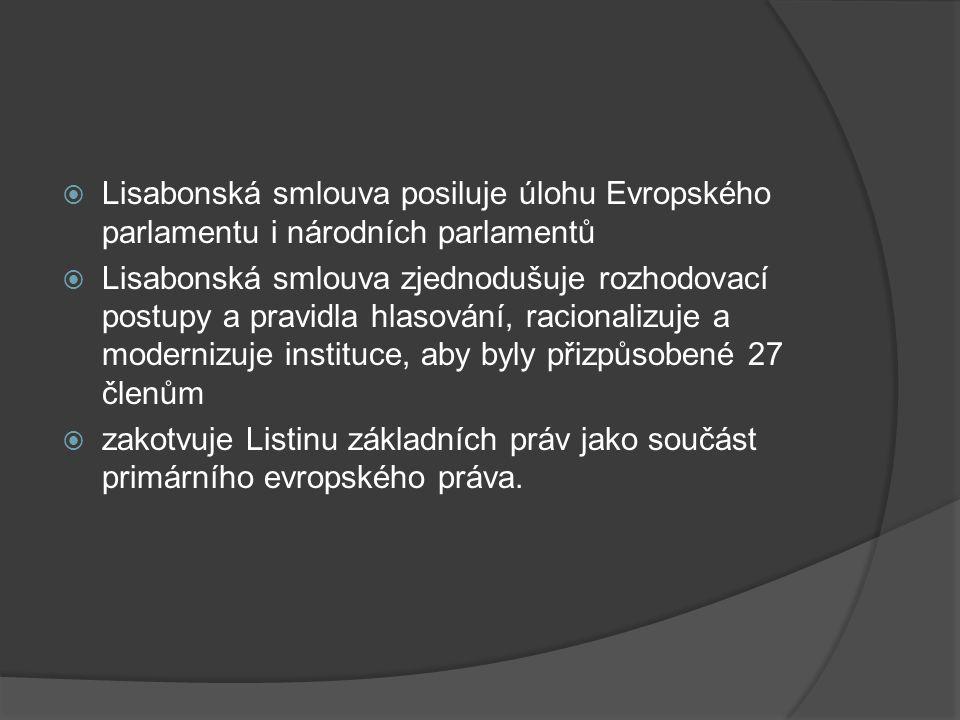 Lisabonská smlouva posiluje úlohu Evropského parlamentu i národních parlamentů