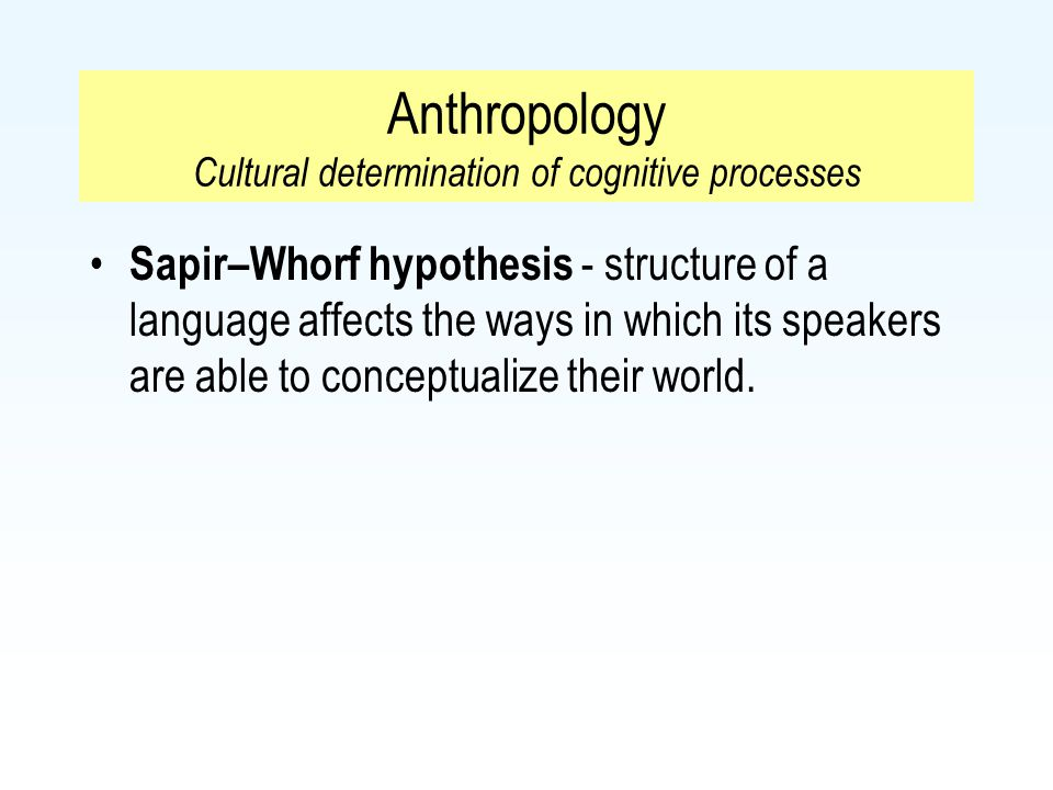 Anthropology Cultural determination of cognitive processes