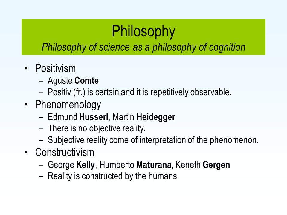 Philosophy Philosophy of science as a philosophy of cognition