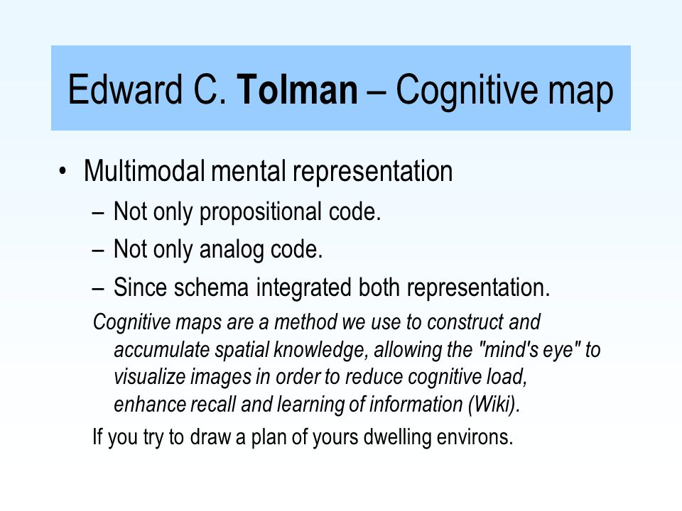Edward C. Tolman – Cognitive map