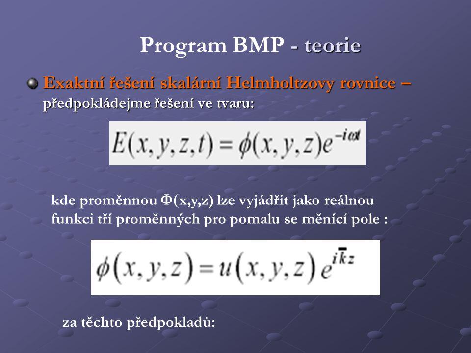 Program BMP - teorie Exaktní řešení skalární Helmholtzovy rovnice – předpokládejme řešení ve tvaru: