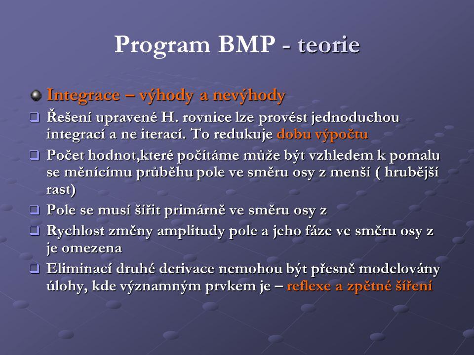 Program BMP - teorie Integrace – výhody a nevýhody
