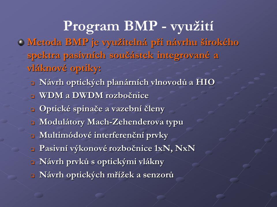 Program BMP - využití Metoda BMP je využitelná při návrhu širokého spektra pasivních součástek integrované a vláknové optiky: