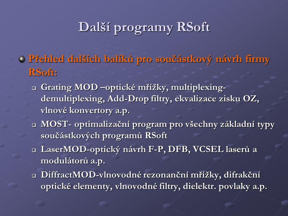 Další programy RSoft Přehled dalších balíků pro součástkový návrh firmy RSoft: