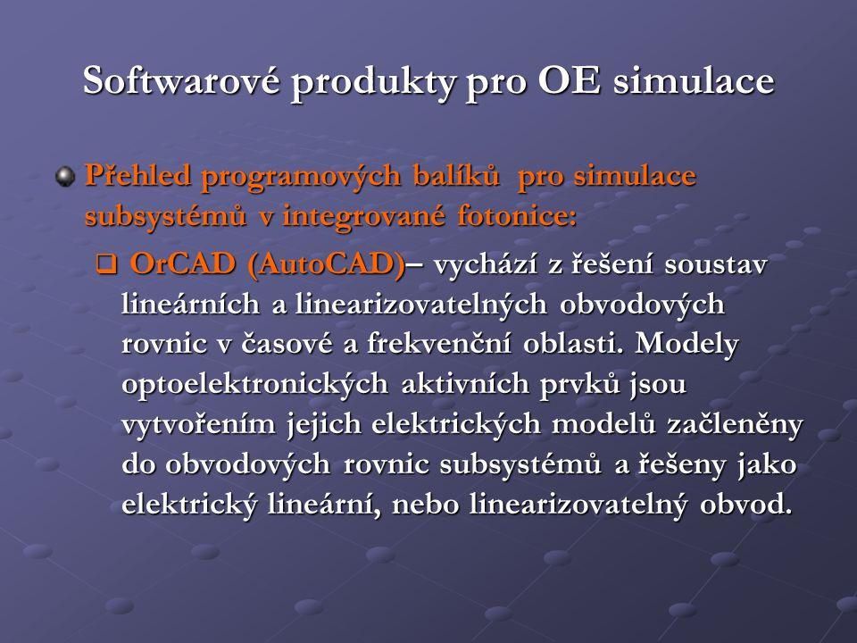 Softwarové produkty pro OE simulace
