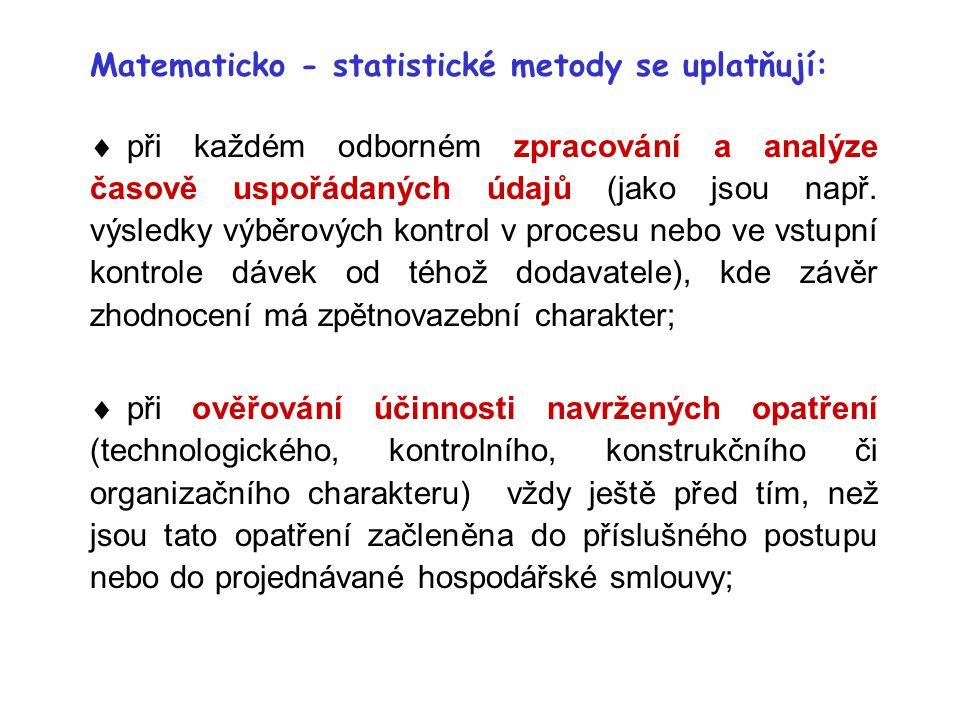 Matematicko - statistické metody se uplatňují: