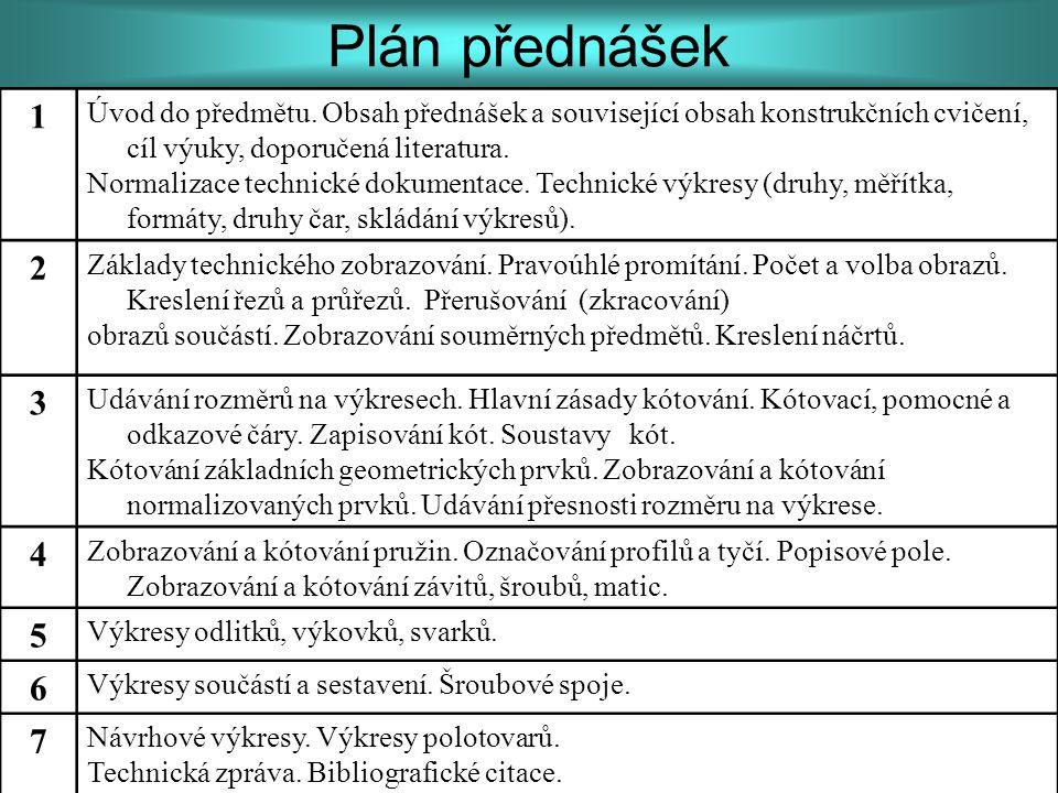 Plán přednášek 1. Úvod do předmětu. Obsah přednášek a související obsah konstrukčních cvičení, cíl výuky, doporučená literatura.