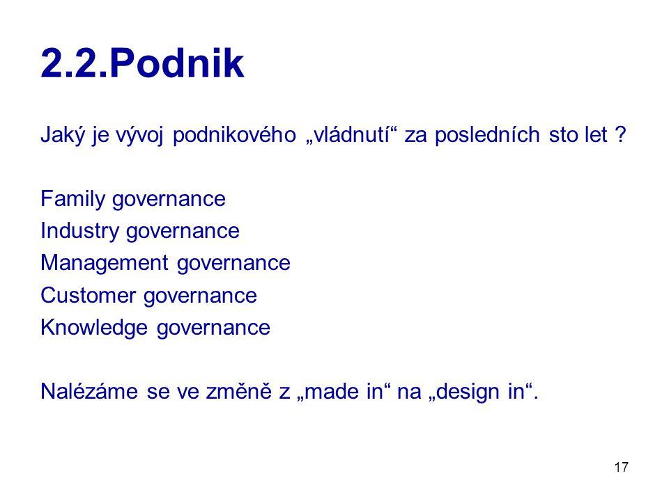 """2.2.Podnik Jaký je vývoj podnikového """"vládnutí za posledních sto let Family governance. Industry governance."""
