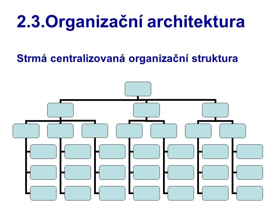 2.3.Organizační architektura Strmá centralizovaná organizační struktura
