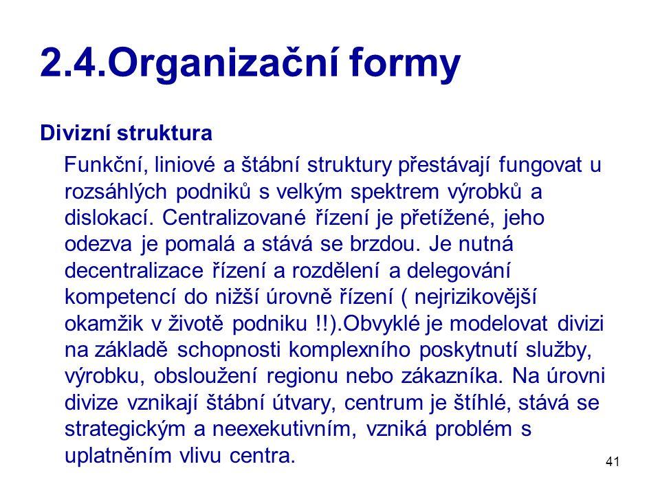 2.4.Organizační formy Divizní struktura