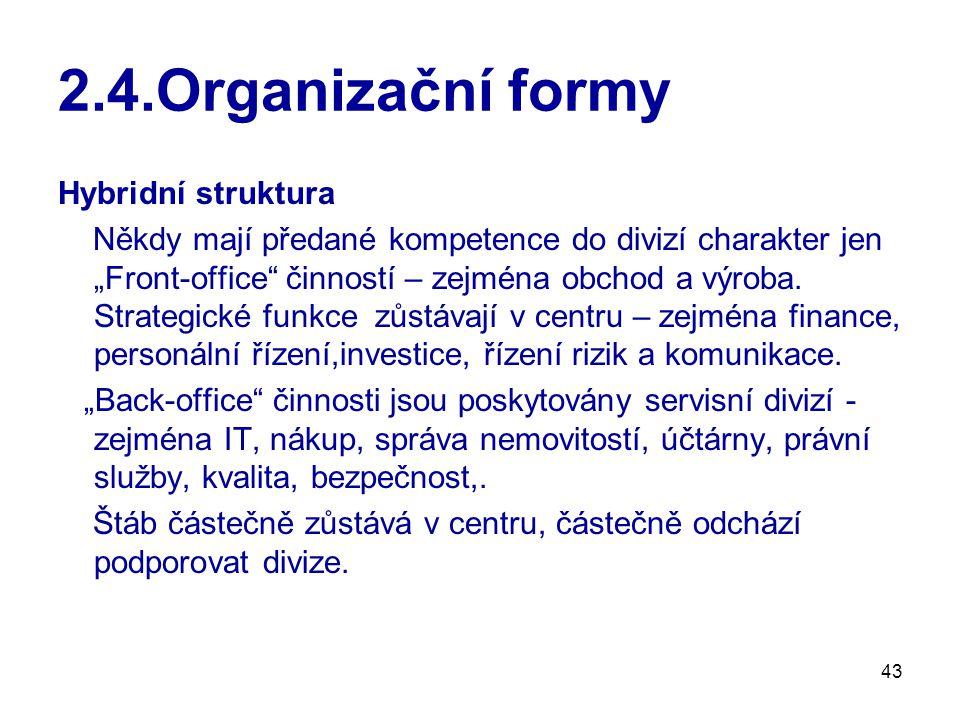 2.4.Organizační formy Hybridní struktura