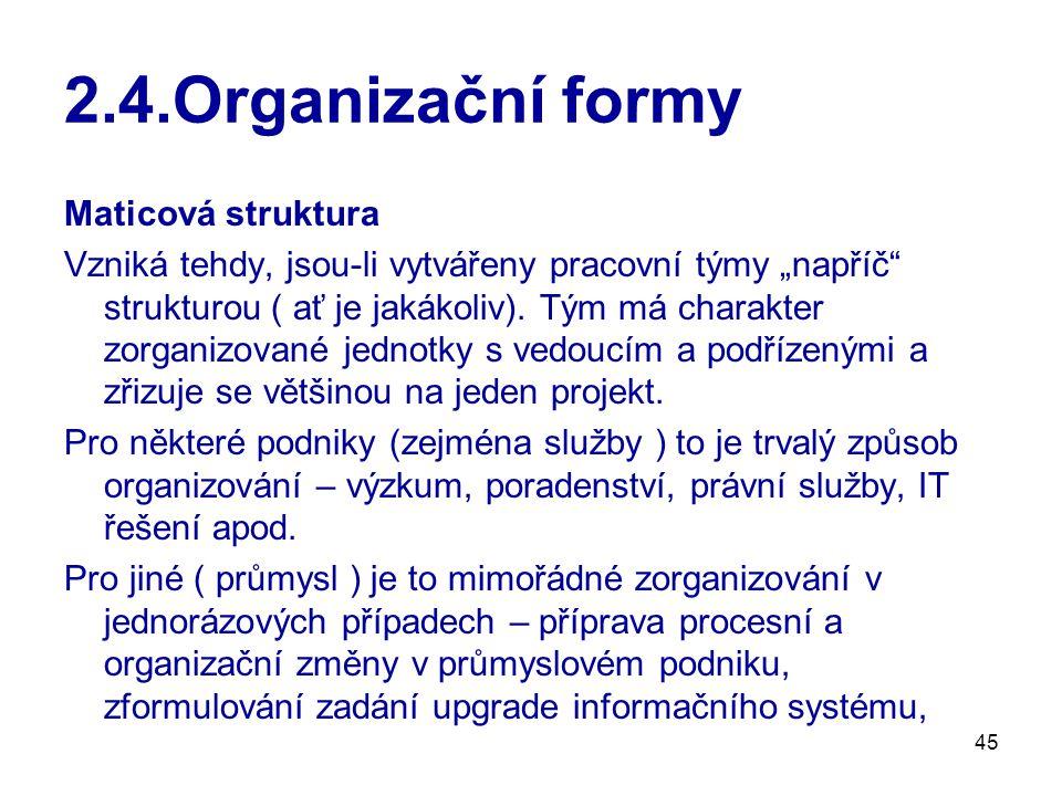 2.4.Organizační formy Maticová struktura