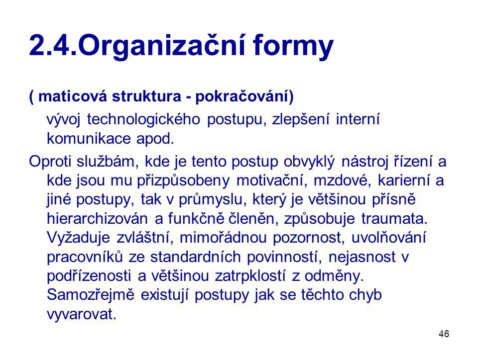2.4.Organizační formy ( maticová struktura - pokračování)