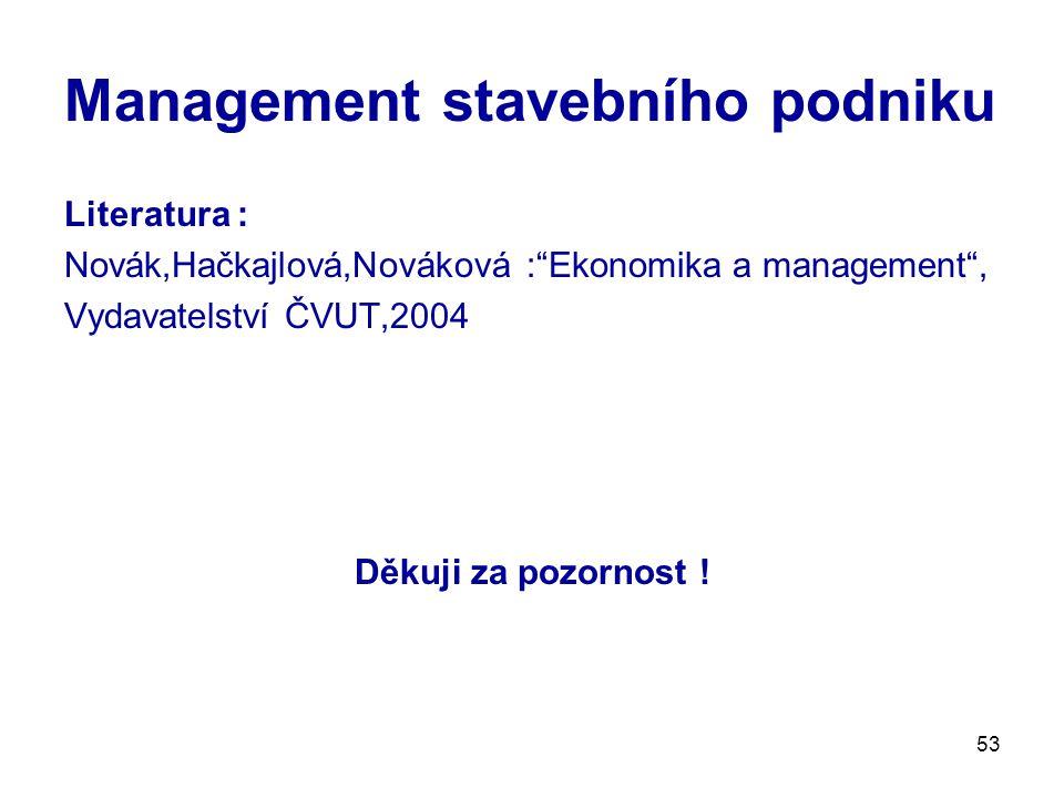 Management stavebního podniku