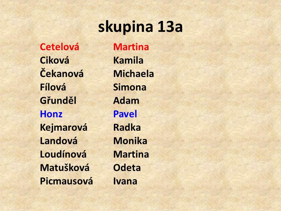 skupina 13a Cetelová Martina Ciková Kamila Čekanová Michaela Fílová