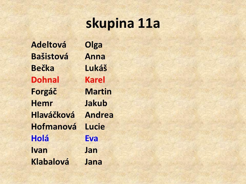skupina 11a Adeltová Olga Bašistová Anna Bečka Lukáš Dohnal Karel