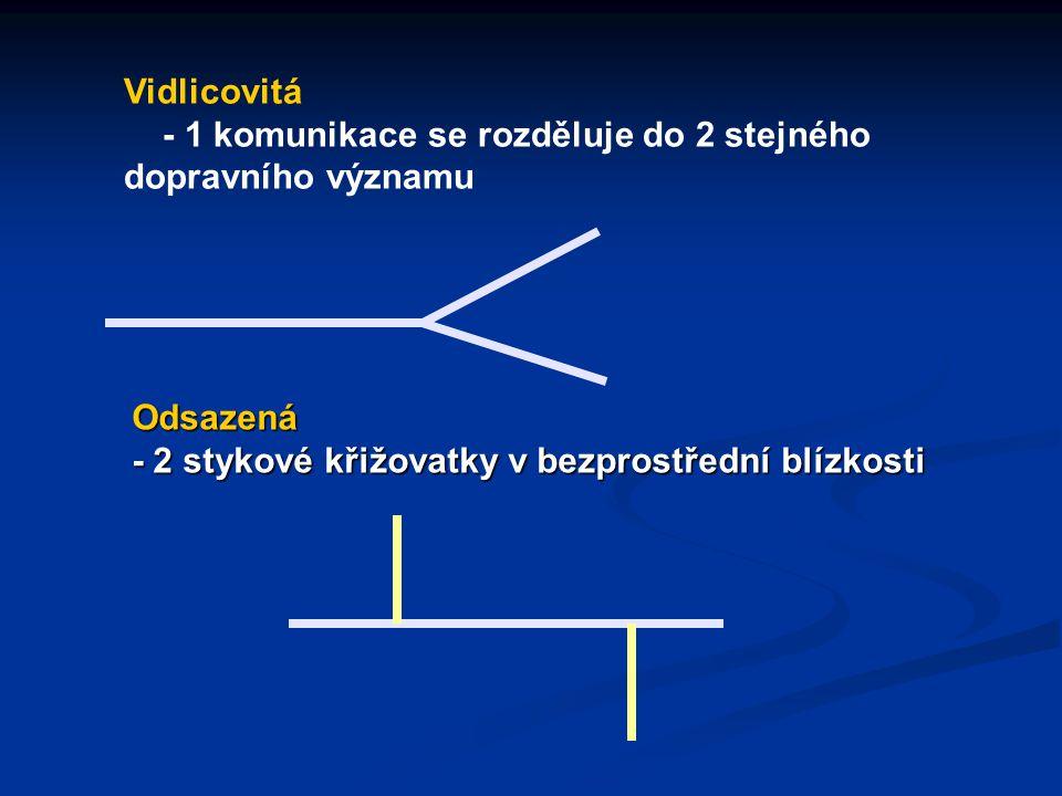 Vidlicovitá - 1 komunikace se rozděluje do 2 stejného dopravního významu.