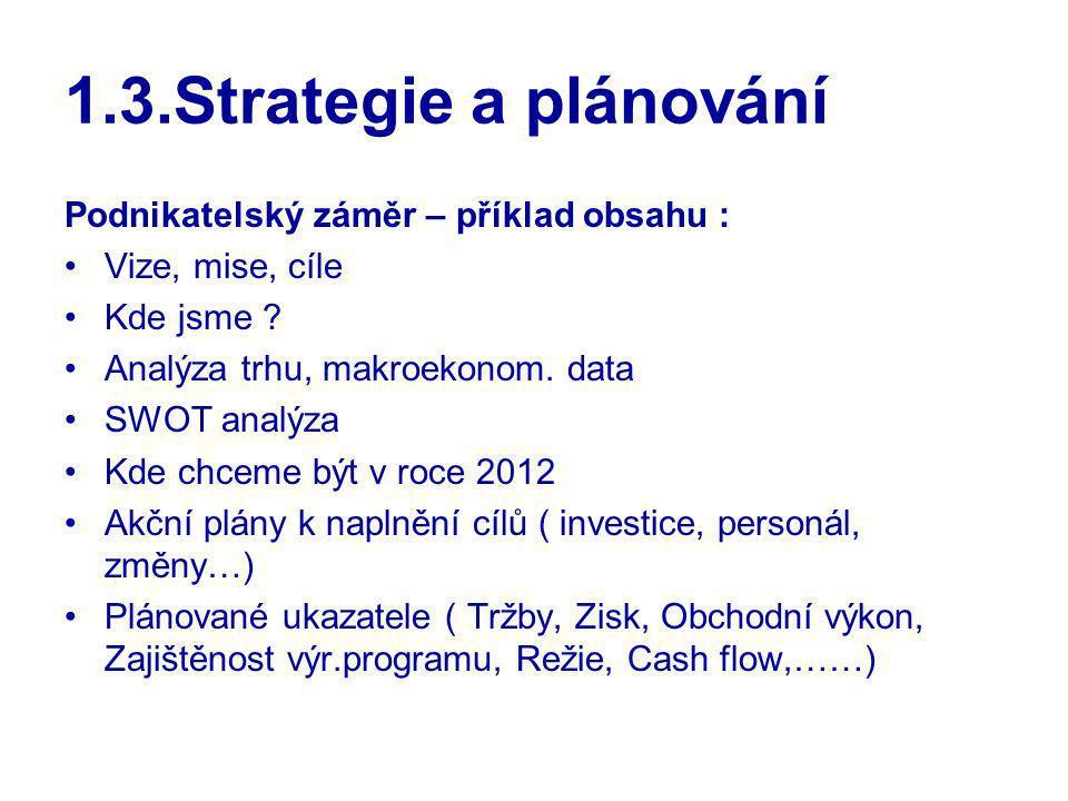 1.3.Strategie a plánování Podnikatelský záměr – příklad obsahu :