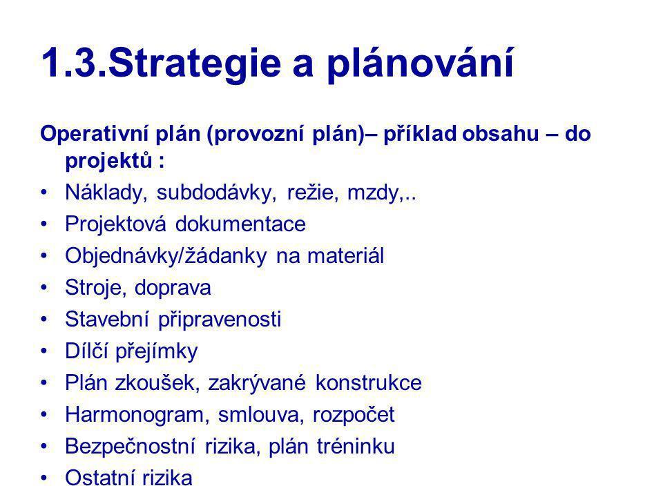 1.3.Strategie a plánování Operativní plán (provozní plán)– příklad obsahu – do projektů : Náklady, subdodávky, režie, mzdy,..